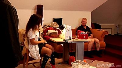 Brunette teen Kaiya and horny old man