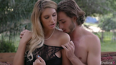 Super hot August Ames in lingerie outdoors