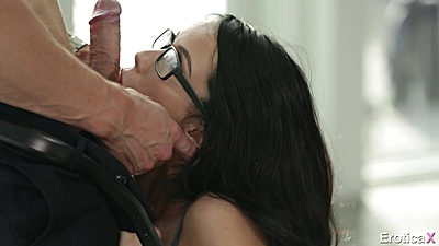 Cock sucking with petite role playing secretary Megan Rain