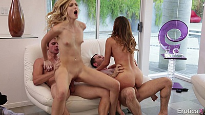 A little more than friends sex with 2 on 2 girl Melissa Moore and Alexa Grace