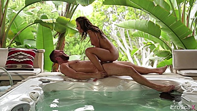 Cock sitting side view on the hot tub with Adriana Chechik