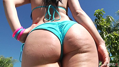 Round bubble butts getting oiled and having a showdown outdoors with Kristina Rose an dAbella Danger