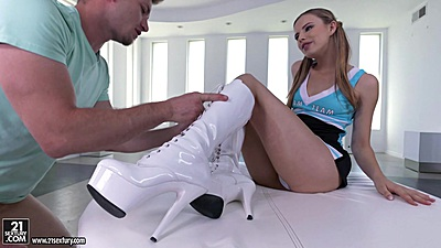 Sexy feet and lovely high heels with skinny Jillian Janson