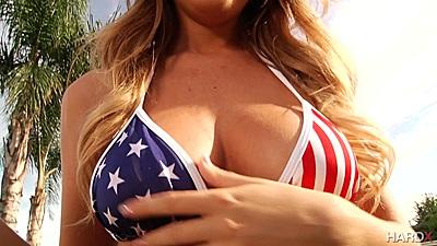 Alluring bikini Alexis Adams stripping outdoors