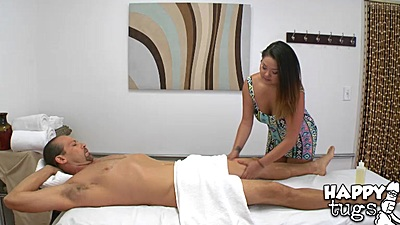 Surprise asian massage handjob from Gigi Skye