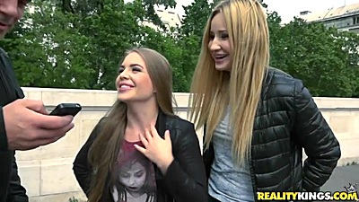 Cheeky girls Cherry Bright and Alessandra Jane approached in public