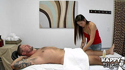Cfnm asian handjob with Nyomi Star during massage
