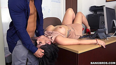 Reverse blowjob half dressed sex on office table with Kitty Caprice
