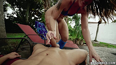 Getting naughty with big ass girl Charley Hart outdoors