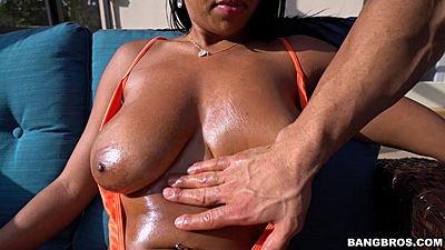 Promiscuous big juggs black babe Katt Garcia felt up and oiled up outdoors