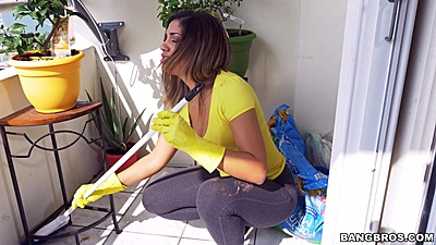 Cleaning hot latina maid Mariah wearing yoga pants around the house