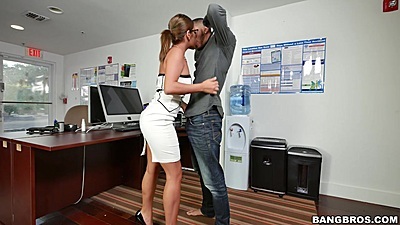 Office latina Mia Martinez fully clothed kissing and oral