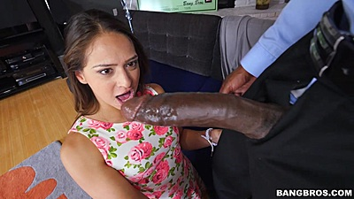 Huge damn just monstrously huge dick for Sara Luvv and her face says it