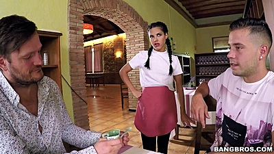 Young petite waitress teen Apolonia gets invited by two clients