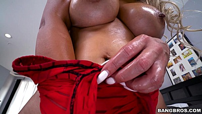 Oiled and horny Nina Kayy reaches in her pussy