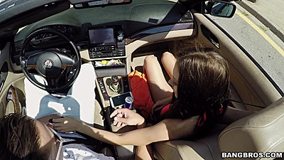 Public driving around in a convertible with Sasha Rose being naughty