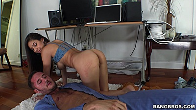 Feisty little cock slut Nina North fucks mechanic