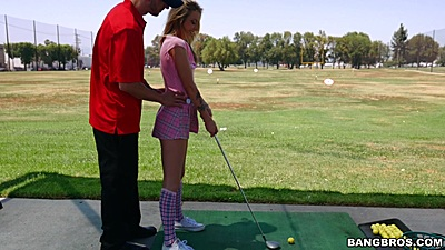 Practicing some golf strokes with Karla Kush