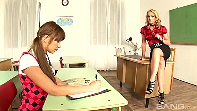 Kathia Nobili and Lindsey Olsen in teacher and 18 year old student threesome