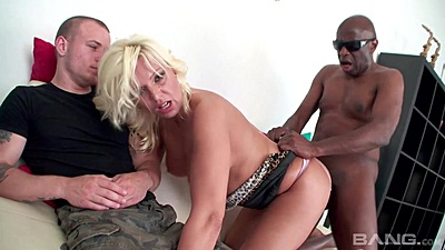 Husband is observing as his white gets fucked from behind by black cock again and again in painful cuckold