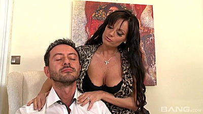Impressive natural boobs Sheila Grant jerks dick in clothes