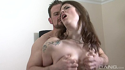 Hairy cunt girl Lucia Love boobs squeezed while fucked from behind