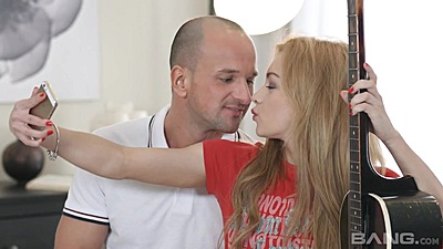 18 year old sweety Sonia Sweet taking a selfie with man
