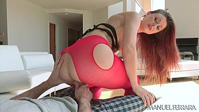 Open crotch nylon redhead Karlie Montana mounds dick for sex