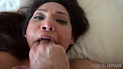 Eva Fenix gets a hand in her mouth with cum all over face