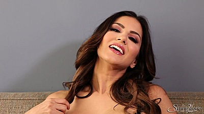 Brunette sensual solo stripping from Sunny Leone bras and panties