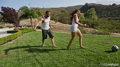 Playing some soccer with Allie Haze on the yard outdoors