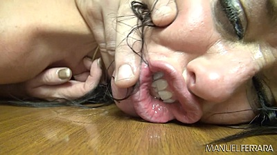Rough flowing brunette Veronica Avluv having head fucked on table