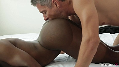 Doggy style white cock black girl pussy intercourse with Ana Foxxx