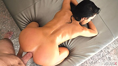 Doggy style great shaped ass anally penetrated Megan Rain in pov
