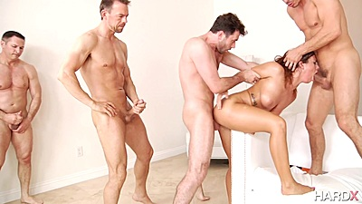 All men on one girl in rough sex anal Keisha Grey with men taking turns