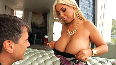 Blonde very large melons milf Bridgette B shows her goods and sucks
