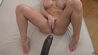 Big black cock and busty white girl Aletta Ocean spreads her legs