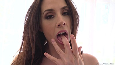 Nice looking babe Chanel Preston dirty talks and puts fingering with vagina juice in mouth