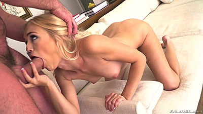 Deep throat with blonde chick Alex Grey for big dick and cowgirl sex