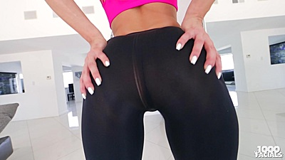 Tight yoga pants Samia Duarte showing off ass and pov crack fuck