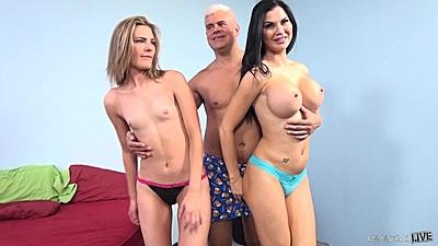 Immoral sluts Jasmine Jae giant and tiny tits combo