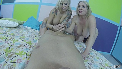 Two sex dolls Vyxen Steel and Maggie Green pov cock jerking and intercourse as seen on headcam