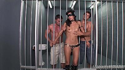 Blind folded fetish loving whore Lou Charmelle  prison handjob