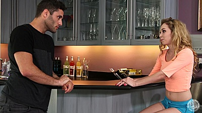 Blowjob by the bar from fully clothed Angel Smalls