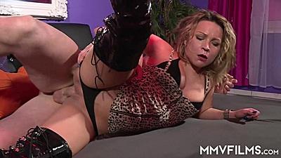 Shameless sideways lingerie pussy penetration with Honey Diamond