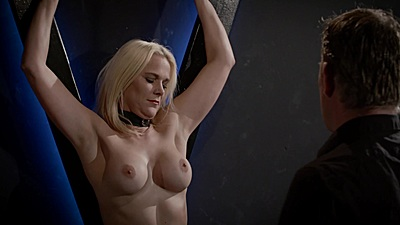 Tied up blond slave gets touched