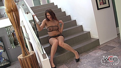 Fishnet solo natural boobs Harley Jade sits on stairs then oral