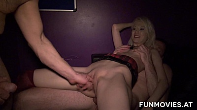 Reverse cowgirl pussy sex with some dp Sarah Dark in porn shop