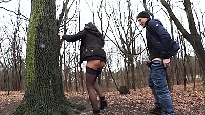 Stockings amateur Stella Star found a quiet place in city park to bang