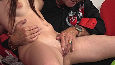 Old man touching younger redhead girl Chelsy Sun vagina and licking it